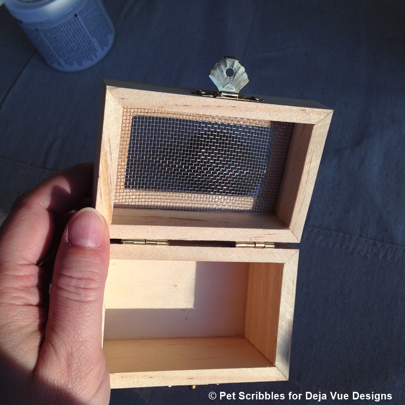 Unfinished Wood Box with Metal Mesh Top