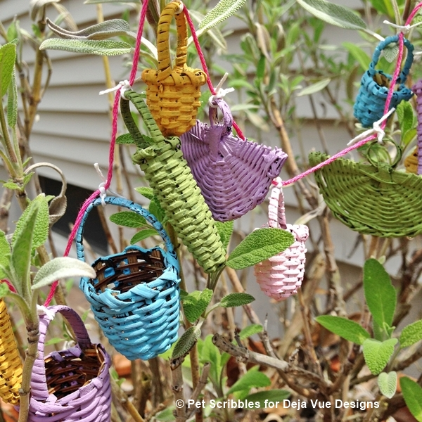 DIY Garland of Miniature Painted Baskets