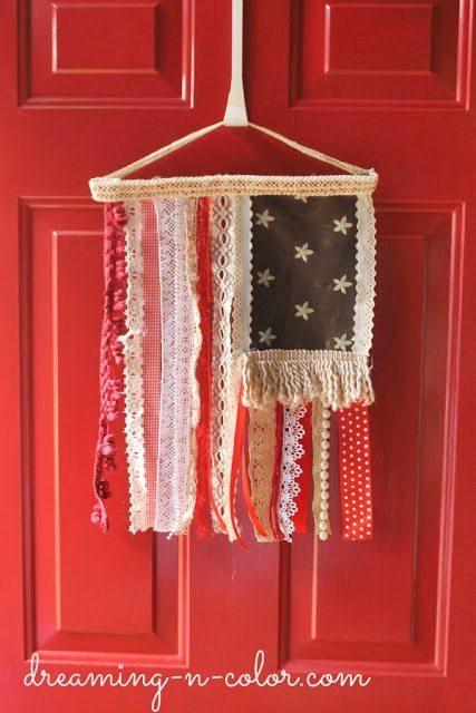 Lace, Trim, Pearls and Fabric Flag | Dreaming in Color