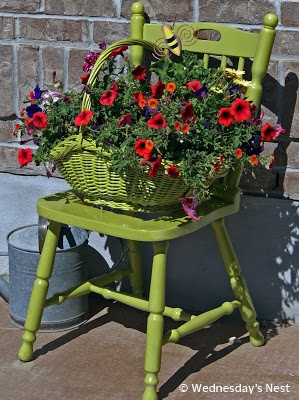 Green Chair Planter DIY by Wednesday's Nest