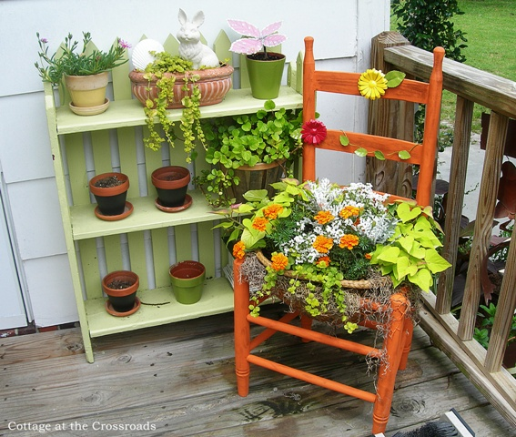 Orange Chair Planter DIY By Cottage At The Crossroads