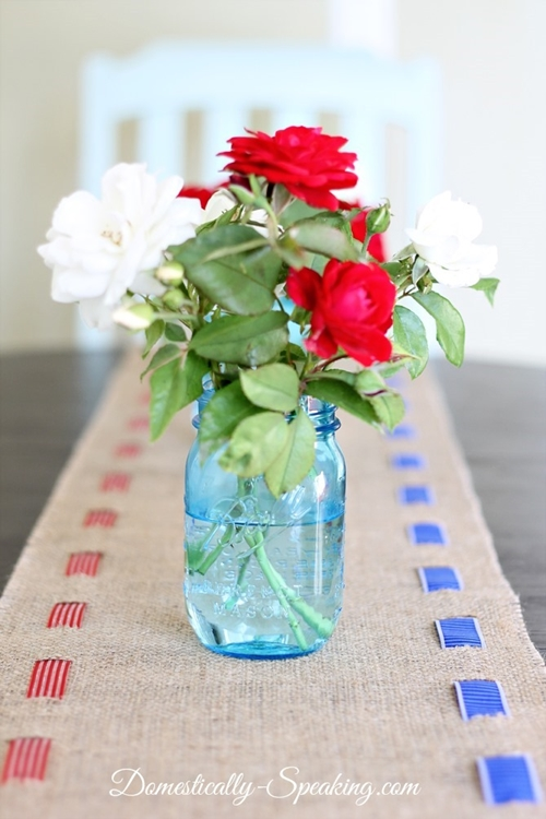 Patriotic Burlap Table Runner | Domestically Speaking