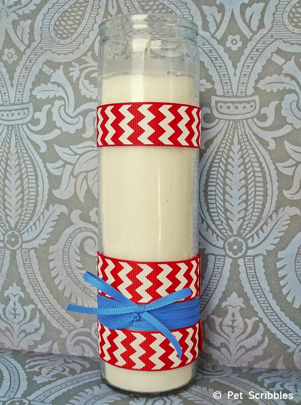 Patriotic Candle DIY with the easiest way to attach ribbon!