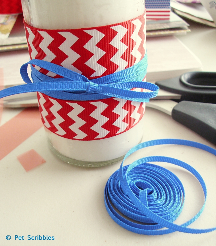 Patriotic Candles - make your own with ribbon and double-sided adhesive tape!