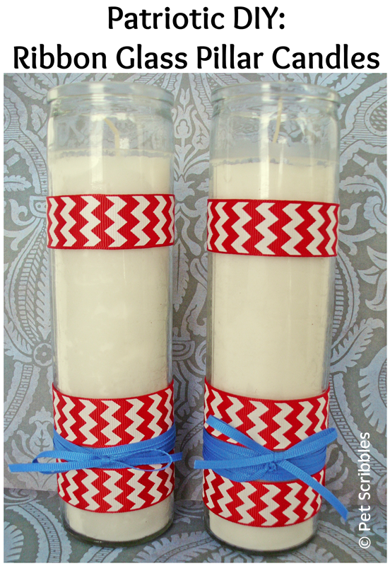 Patriotic Glass Candles: make your own with ribbon and double-sided adhesive tape!