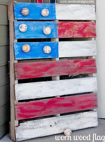 Pallet Flag with Baseball Stars | Sweet C's Designs
