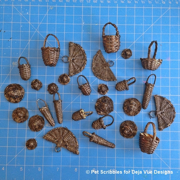 black miniature baskets for fairy garden