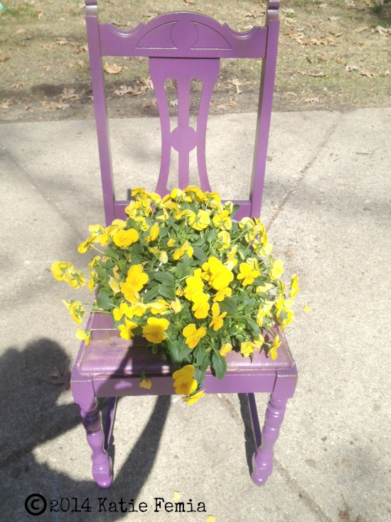 Purple Chair Planter DIY by Premeditated Leftovers