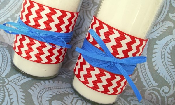 Patriotic DIY: Ribbon Glass Pillar Candles