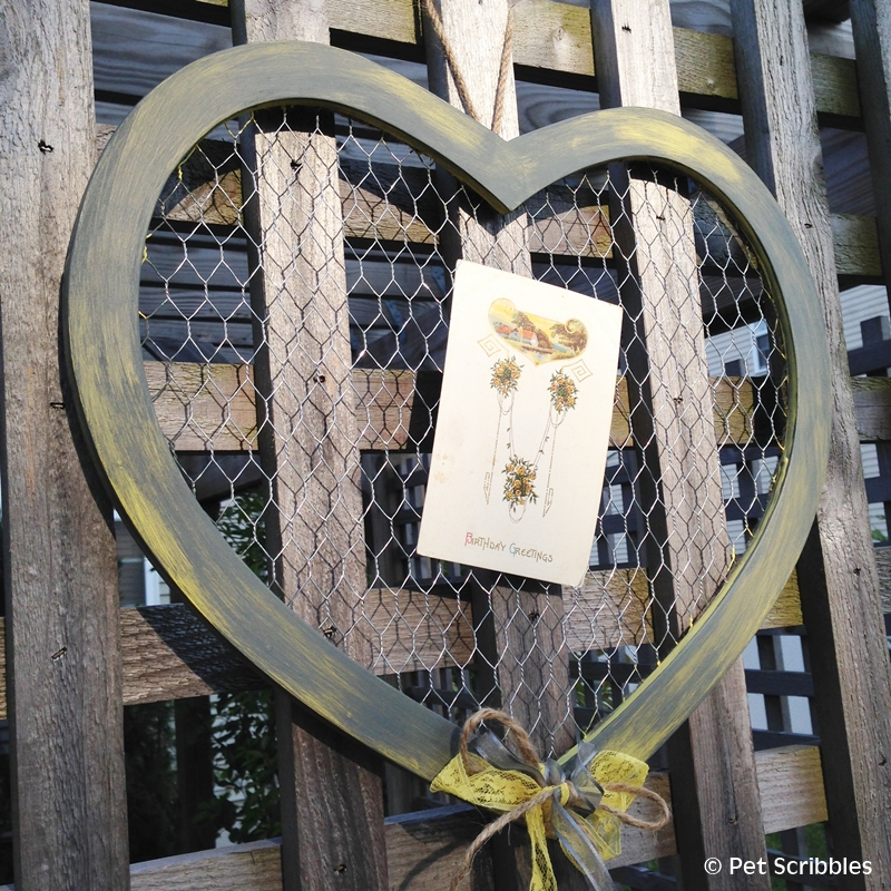 Chicken Wire and Wood Heart