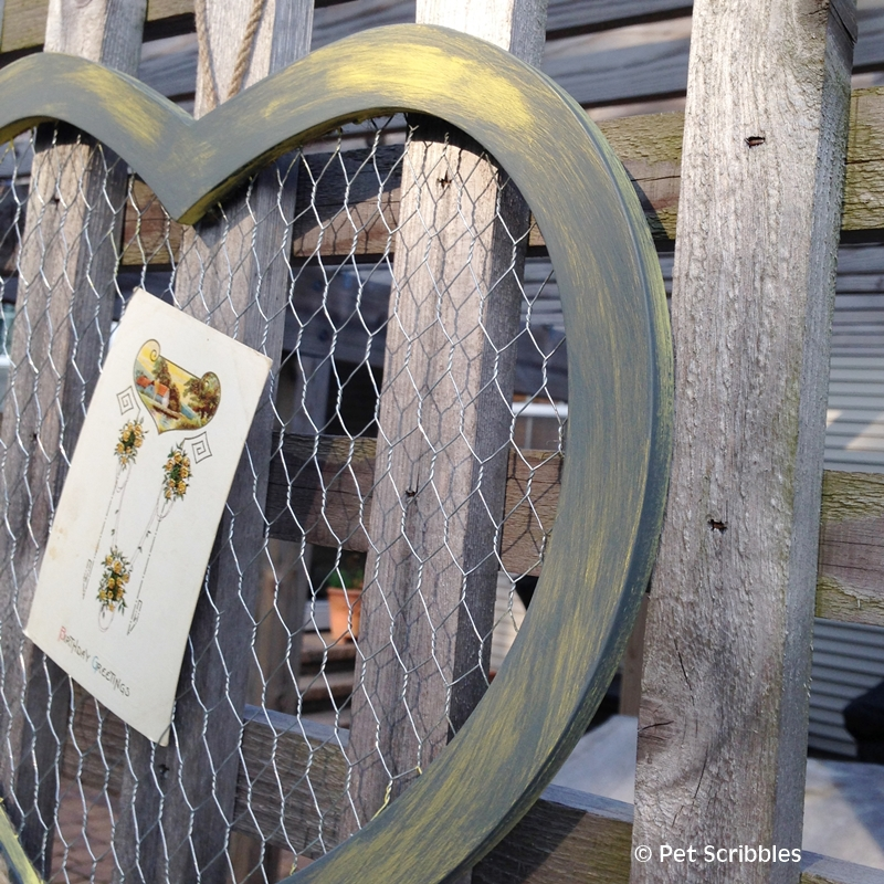 Gray and Yellow Chicken Wire Heart