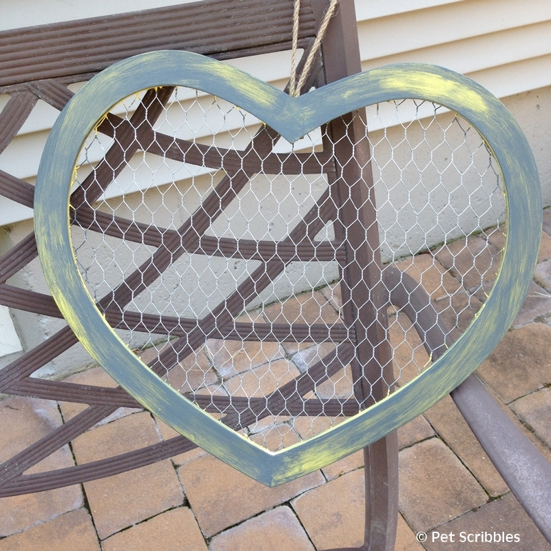 Yellow and Gray Rustic Chicken Wire Heart