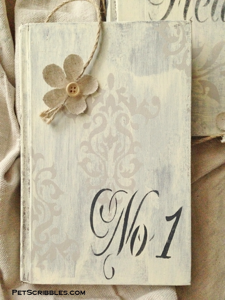 Shabby decor painted book