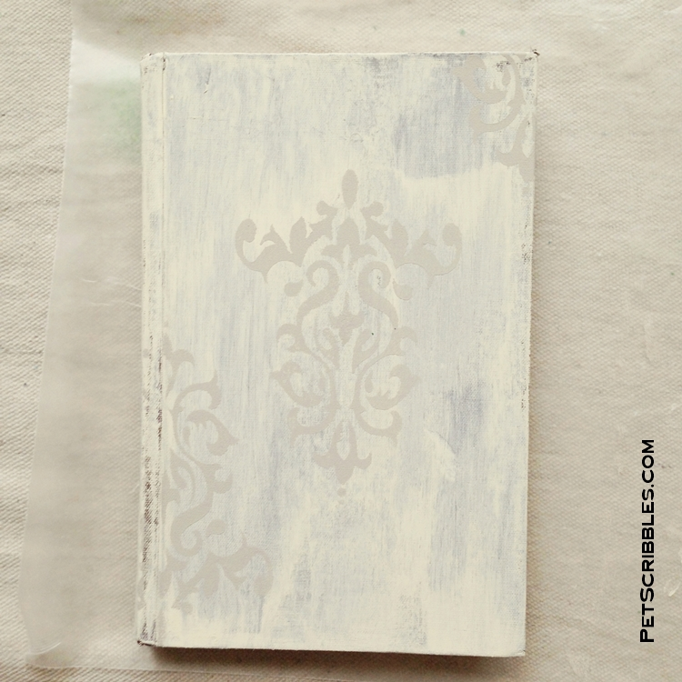 painted and stenciled shabby book DIY