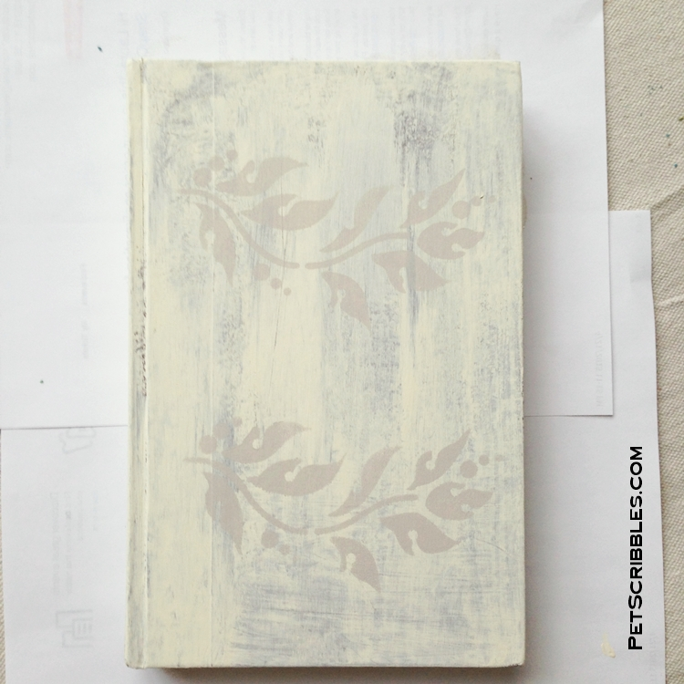 painted and stenciled shabby book