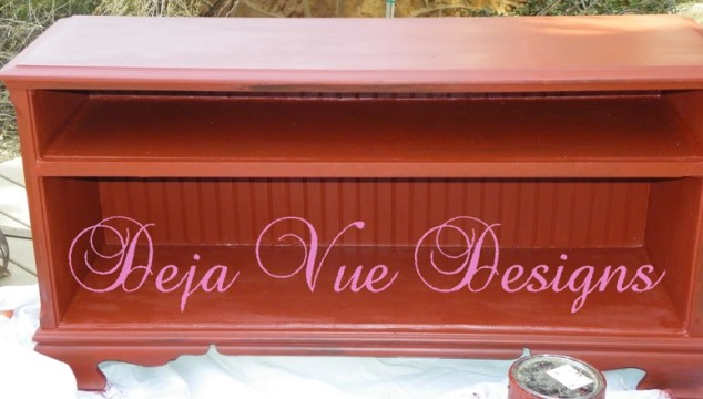 upcycled stereo cabinet, faux finishes, furniture paint treatments, repurposed furniture, red