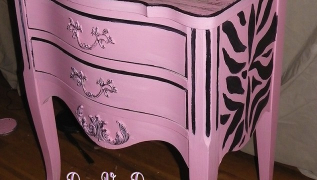 pink painted furnture, aged paint treatment, faux finishes, zebra stripes