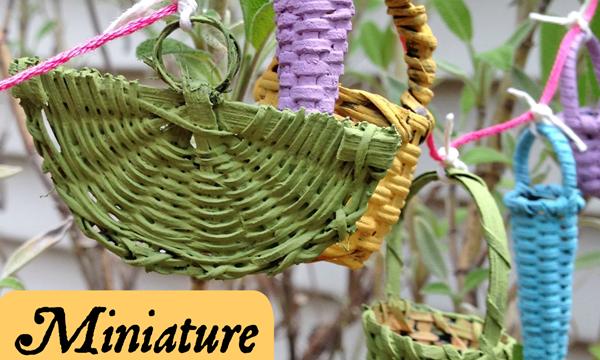 Miniature Basket Garland for a Fairy Garden